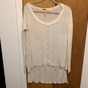 Free People High Low Lace Trim Sweater